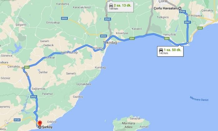 Tekirdağ Şarköy Süleyman Altınok Halk Plajına Havaalanından Gidiş